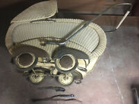 ANTIQUE OFF WHITE WICKER BABY CARRIAGE 2 PIECE STROLLER BUGGY  BASKET ATTIC FIND