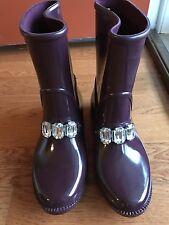 NEW Michael Kors Leslie Rain Boots Plum Rhinestone Embellished Sz 6