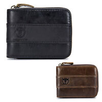 BULLCAPTAIN Genuine Leather Men Wallet RFID Blocking Vintage Bifold Wallets X6Q8