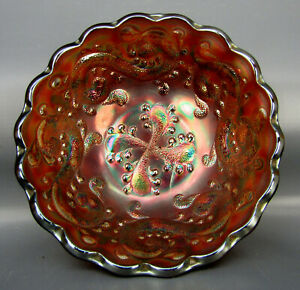 """Fenton FEATHERED SERPENT Amethyst Carnival Glass 5"""" ICS Berry Bowl 6167"""