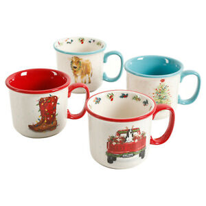 The Pioneer Woman Holiday Medley Set of 4 Camper Mugs 16 oz NEW