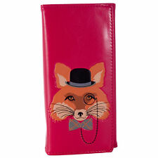 Large Long Ladies Fashion Wallet Purse Mr Fox Design -Fuchsia