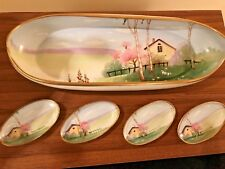 SUPERB HAND PAINTED SUSHI OR NUT BOWL WITH (4) SAUCE/SERVING BOWLS