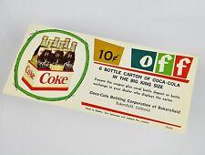 Schöner alter Coca-Cola Coupon USA 1960er - 10c off 6 Bottle Carton