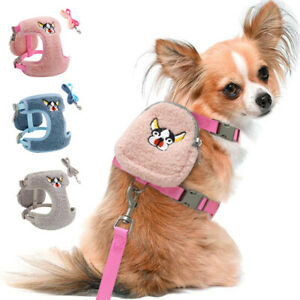 Mesh Fleece Pet Dog Harness/Dog Lead/Treat bag Small Dogs Cat Walk Vest Harness