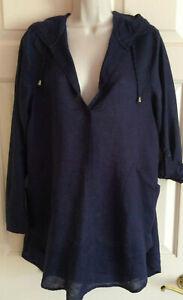 FORCYNTHIA Beachwear Navy Roll Tab LS Linen Hooded Pockets Swim Coverup ~ Size L