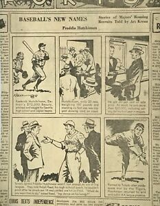 1939 newspaper feature Baseball's New Names - Fred Hutchinson of Detroit Tigers