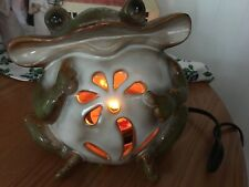 """Large Green Wide Mouth Frog/Toad Ceramic Internal Electric Light Up 8x 6.5""""Light"""