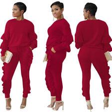 New 2pcs Women Lantern Sleeve Ruffles Pants Bodycon Jumpsuit Playsuit Clubwear