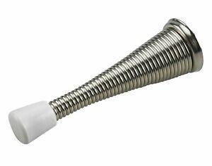 """Brushed Nickel 3-1/8"""" Spring Door Stop w/ Rubber Bumper Door Stopper (BCP48)"""