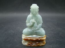 Chinese 1920's nice carved nature color jadeite Buddha a145