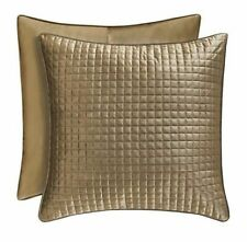 "J Queen Velvet Quilted Pair of Euro Sham Glacier Gold Bronze 26"" x 26"" NEW $89"