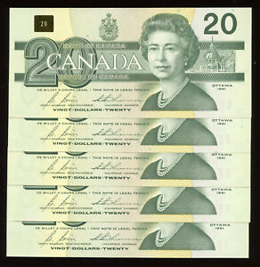 1991 Bank of Canada $20 - Lot of 5 Consecutive Unc's