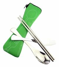 Crysto Stainless Steel Fork, Spoon and Chopsticks Set with Textile Case