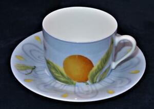 Limoges Laure Japy ALHAMBRA Light Blue Rim, Fruit, Coffee Tea Cup & Saucer Set