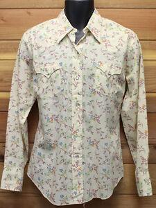 vtg H Bar C CREAMY TAN FLORAL Western Shirt LADIES 40 cowboy 70s Cherry Sprigs
