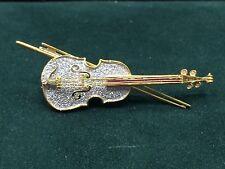 Vintage 18k Yellow & White Gold Diamond & Ruby Violin Brooch Pin