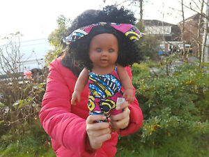 """12"""" Jungle Shanice Black Doll Afro African Baby Girl Doll in Jumpsuit 30cm"""