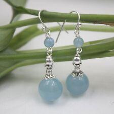 Real S925 Silver Dangle Earrings Women's Aquamarine Ball Charm Earrings 40mmH