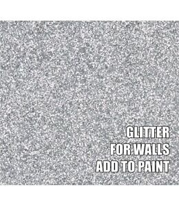"""100g FINE SILVER GLITTER FOR WALLS ADD TO PAINT OR VARNISH ADDITIVE .008"""" .2mm"""