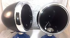 "Pair 2 Guide 7"" Black Street Rod Head Light Lamp Buckets Assembly Wired Bullet"