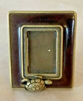 """JAY STRONGWATER MINIATURE PICTURE FRAME W/ TURTLE & 2 CRYSTALS 2 1/8"""" x 1.5""""~ D7"""