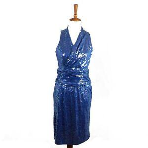 Oleg Cassini Cocktail Dress Size12 Blue Sleeveless Sequin Formal Evening Vintage