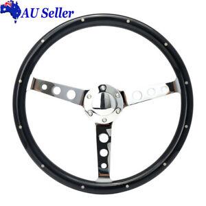 "15"" Black  Round Hole Polished Spoke Deep Dish Wooden Steering Wheel Universal"