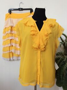 NWT ASHRO Women's Formal Ruffles Yellow Ivory 2 Piece Skirt Suit Size 16, $199