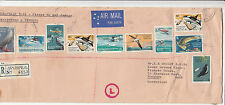 AAT Antarctic 1973 food chain set of 10 on registered airmail insured sent cover