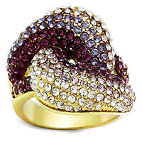 Multi Color Crystal Pave Gold Plated Ladies Cocktail Ring