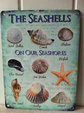 METAL BEACH NAUTICAL SIGN 'THE SEASHELLS ON OUR SEASHORE' WALL HANGING  PLAQUE
