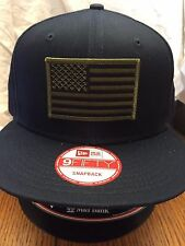 New Era NE400 Navy Blue Flat Brim Snapback Hat/Cap W/ Green Black American Flag
