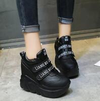 Womens Platform Wedge Casual Sport Sneakers Shoes Hidden High Heel Ankle Boots J