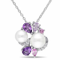 Amour Sterling Silver Cultured Freshwater White Pearl Multi-gemstone Necklace