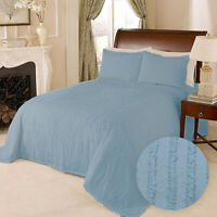 100% Cotton Tufted Chenille Stripe Bedspread Bedding Twin Full Queen King, Blue