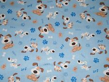 BTY BARKING DOGS on Blue Print 100% Cotton Quilt Crafting Fabric by the Yard