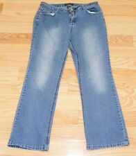 Baccini Women's Dark Blue With Embroidered Straight Leg Jeans Size 12P