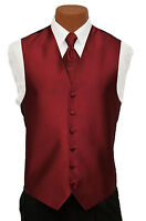 Medium Mens After Six Aries Dark Red Fullback Prom Wedding Tuxedo Vest & Tie