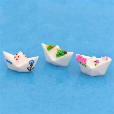 3X Boat Resin Miniature Figurine Dollhouse Fairy Garden Decor Micro Landscape XU