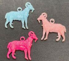 3 Alarmingly Colourful Vintage Goat Charms - 2cm long