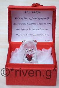 MY WIFE GIFT@Teddy Bear@PREMIUM Heart Box@LOVE Verse@Glass@Red Rose@ANNIVERSARY