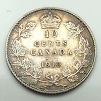 1910 Canada Ten 10 Cents Circulated Silver Dime Canadian Circulated Coin C295