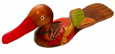 """Large Decorative 14"""" Multi-Color Hand-Painted Hand-carved Lacquered Wooden Duck"""