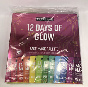 New FREEMAN 12 Days of Glow 12 pc.  Hydrating Facial Mask Gift Set