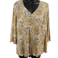 Motherhood Multicolor Floral Paisley 3/4 Sleeve Stretchy Top Women's Size Large