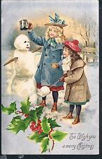 GORGEOUS AMERICAN POSTCARD OF TWO YOUNG GIRLS MAKING A SNOWMAN C1912