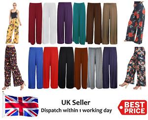 New Ladies Womens Plain Palazzo Wide Leg Flared Trousers Pants Plus Size 8-26