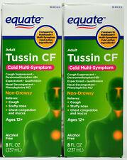2x Equate Adult Tussin CF Cold Multi-Symptom Non-Drowsy 8oz Exp Date 4/2021