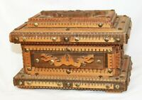 Antique Tramp Folk Art carved wood box jewelry keepsake sewing dresser Marian